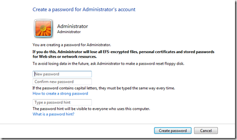 create password on windows vista