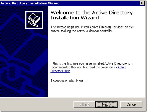 Welcome to active directory installation wizard