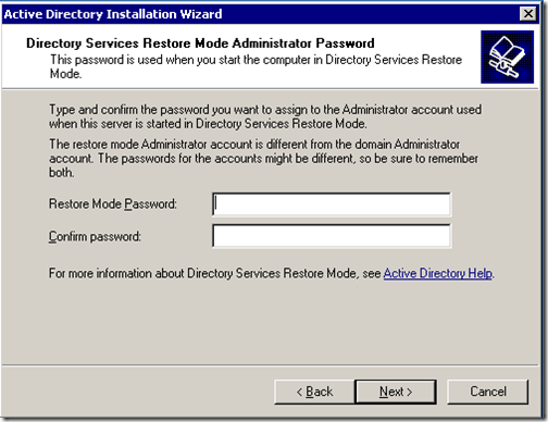 Directoty services restore mode administrator password