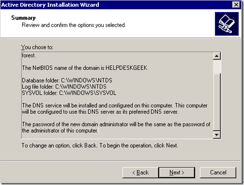 Active directory summary