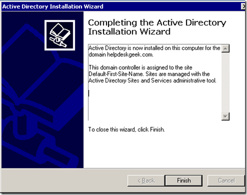 Completing the active directory installation wizard