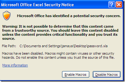 Microsoft Office Excel Secuirty Notice