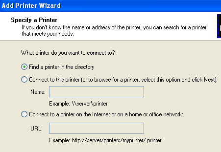 Connect to Network Printer in Windows XP