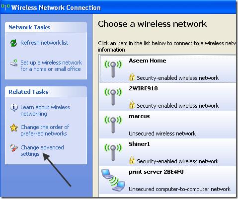 change advanced settings wireless