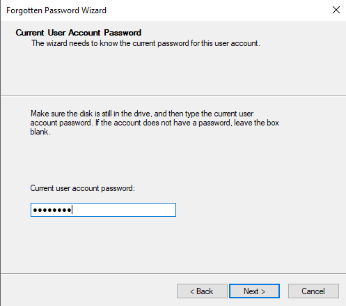 this disk is not a password reset disk windows 10