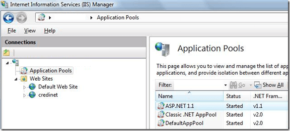 application pool iis7