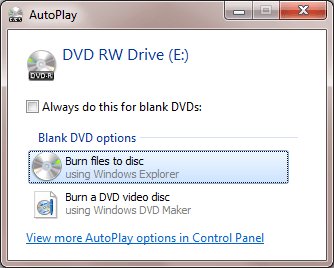 if no dialog box comes up for you then just open windows explorer and double click on the cd dvd drive icon another box will pop up asking you how you