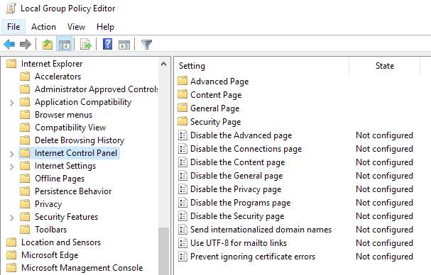 How to Disable/Enable Internet Options Tabs in IE