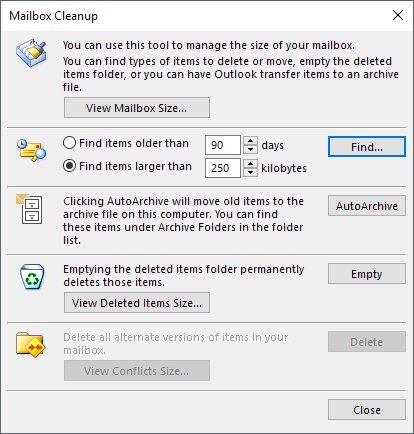 How to Reduce Outlook Memory Usage