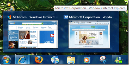 windows 7 taskbar preview