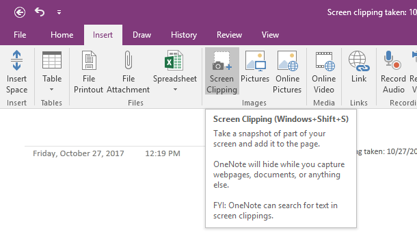 outlook 365 send to onenote windows 10