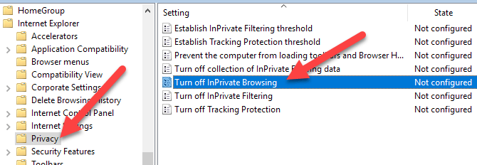 Disable or Turn Off InPrivate Browsing in Internet Explorer
