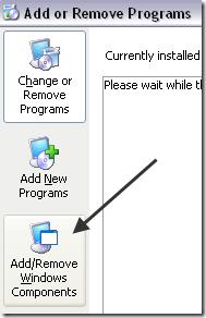 add remove windows components