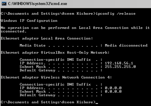 how to find my dhcp server ip address via a command prompt