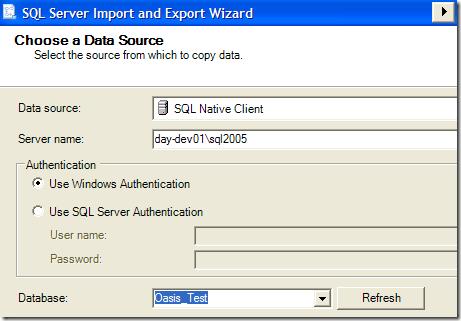 choose data source sql