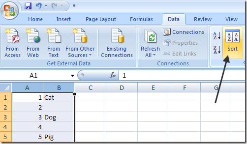 excel delete blank lines