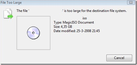 file is too large for destination system