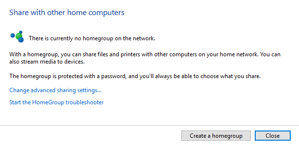 how to create a homegroup in windows 10 home