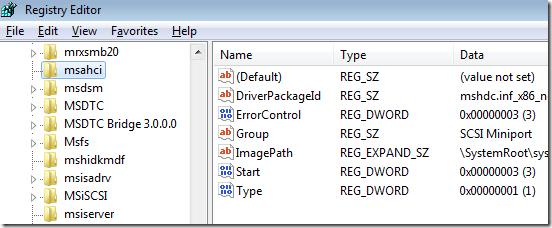 enable msahci driver windows 7