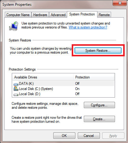 How to Enable System Restore in Windows 7