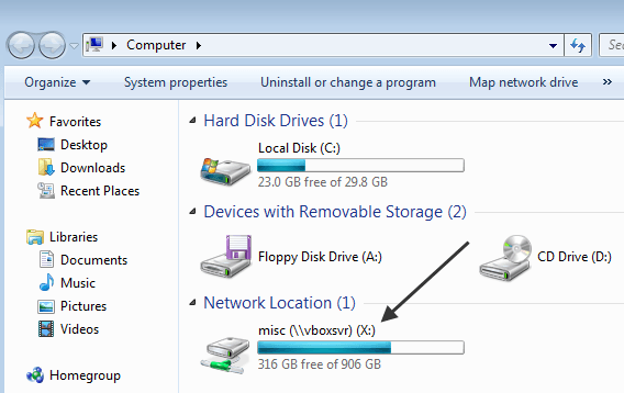 how to know location network path of mapped drive xp