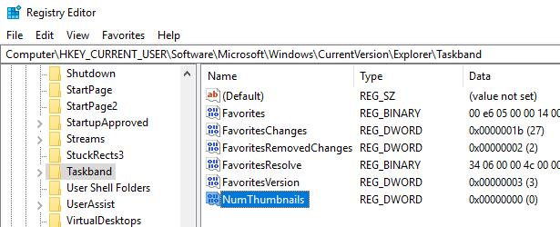 Turn Off Taskbar Thumbnail Previews in Windows 7/8/10