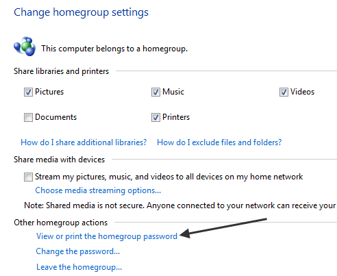 cant change homegroup password