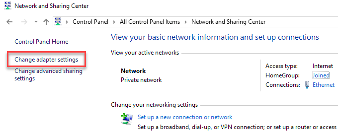Bridge Network Connections in Windows 7/8/10
