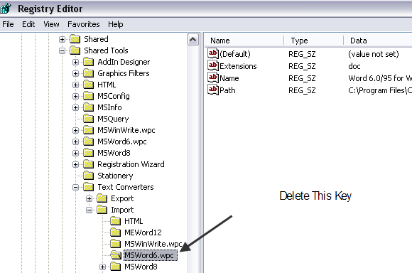 """Fix """"Word Cannot Start the Converter MSWRD632 WPC"""