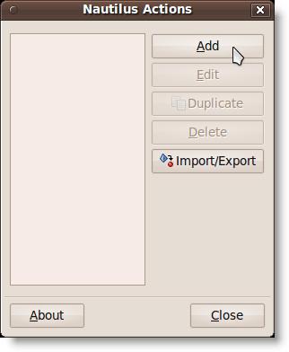 Nautilus Actions dialog box