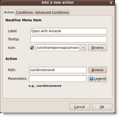 Adding a new action to Nautilus