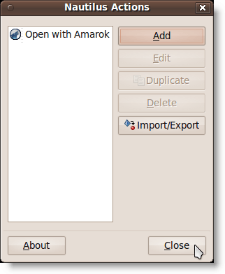 Closing the Nautilus Actions dialog box