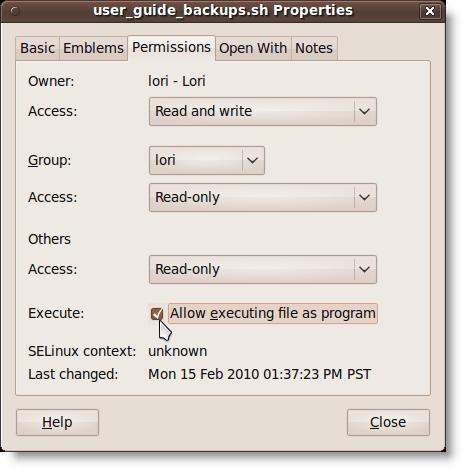 Shell script file permissions