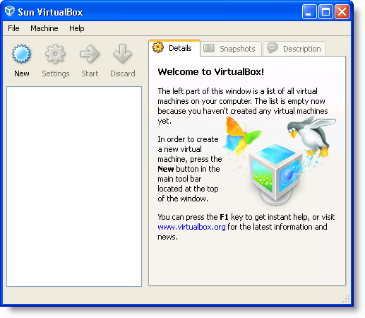 The main VirtualBox window