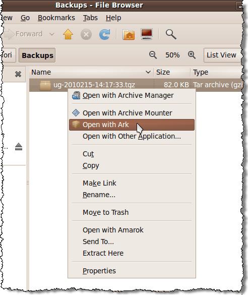 Pop-up menu options for .tgz file