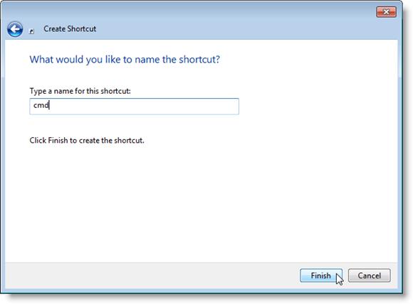 Entering a name for the cmd shortcut