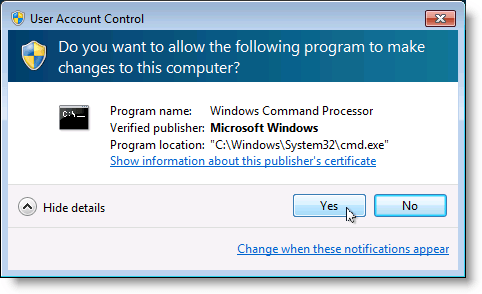 User Account Control warning