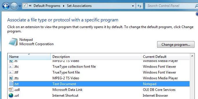 Set Default Programs in Windows 7/10