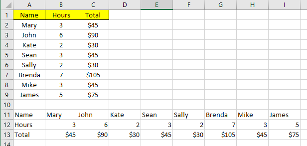 2 Ways to Use Excel's Transpose Function
