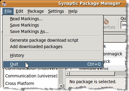 Closing the Synaptic Package Manager