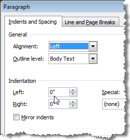 Inches on Indentation in Paragraph dialog box in Word 2007