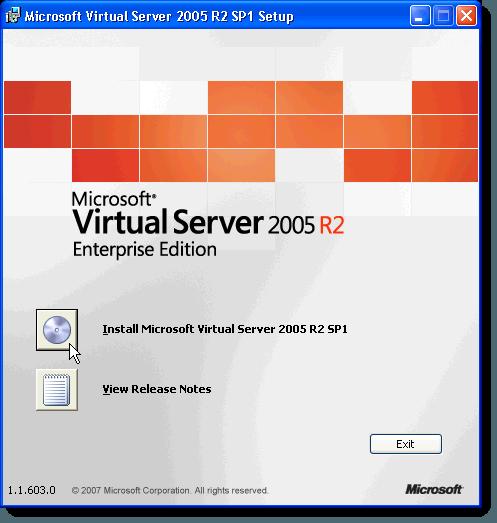 MS Virtual Server initial setup screen