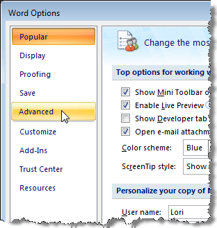 Selecting Advanced on the Word Options dialog box