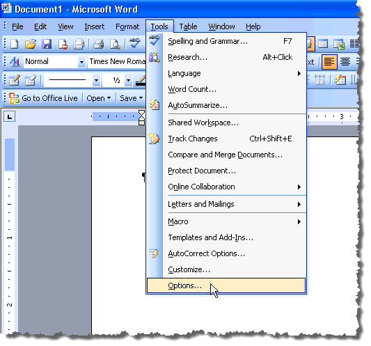 Selecting Options from the Tools menu in Word 2003