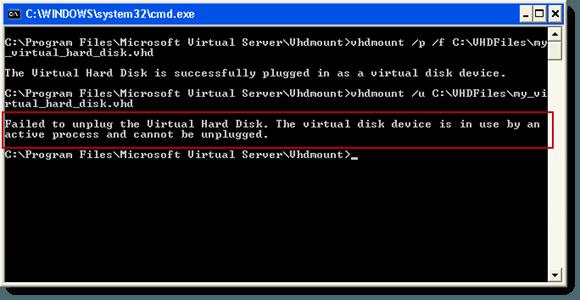 Failed to unplug the Virtual Hard Disk