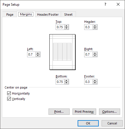 Center Your Worksheet Data In Excel For Printing