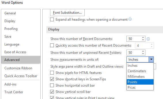 Change Measurement Units in Microsoft Word