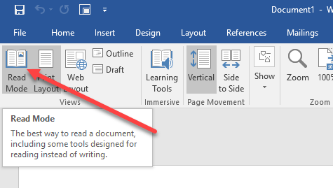 View Word Documents in Full-Screen Mode