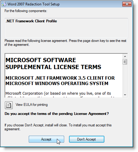 License Agreement for the .NET Framework Client Profile