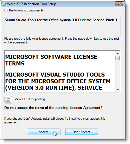 License Agreement for the Visual Studio Tools for Office